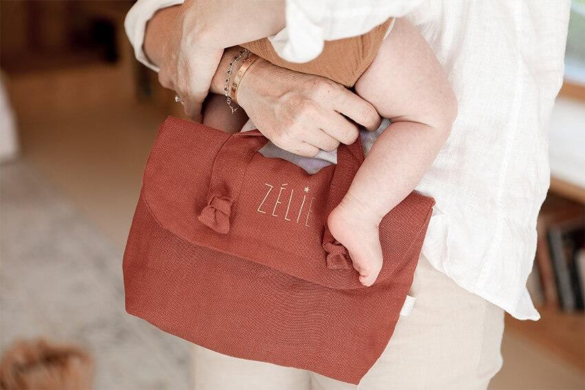Personalised linen toiletry bag