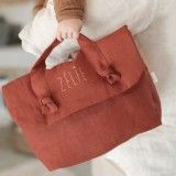 shop Personalised linen toiletry bag
