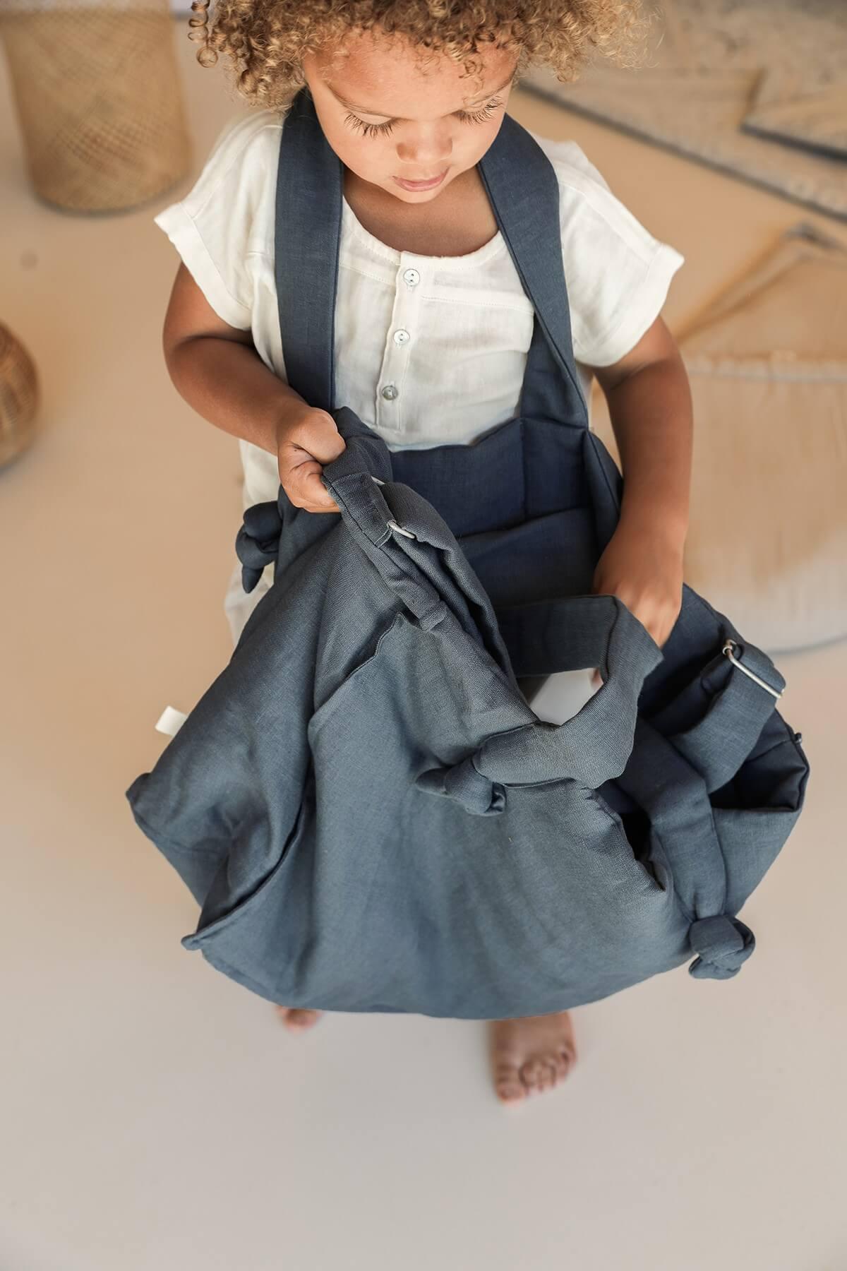 Washed linen changing bag