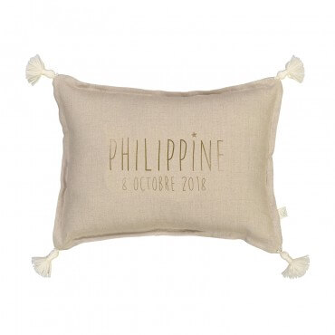 Personalised washed linen cushion