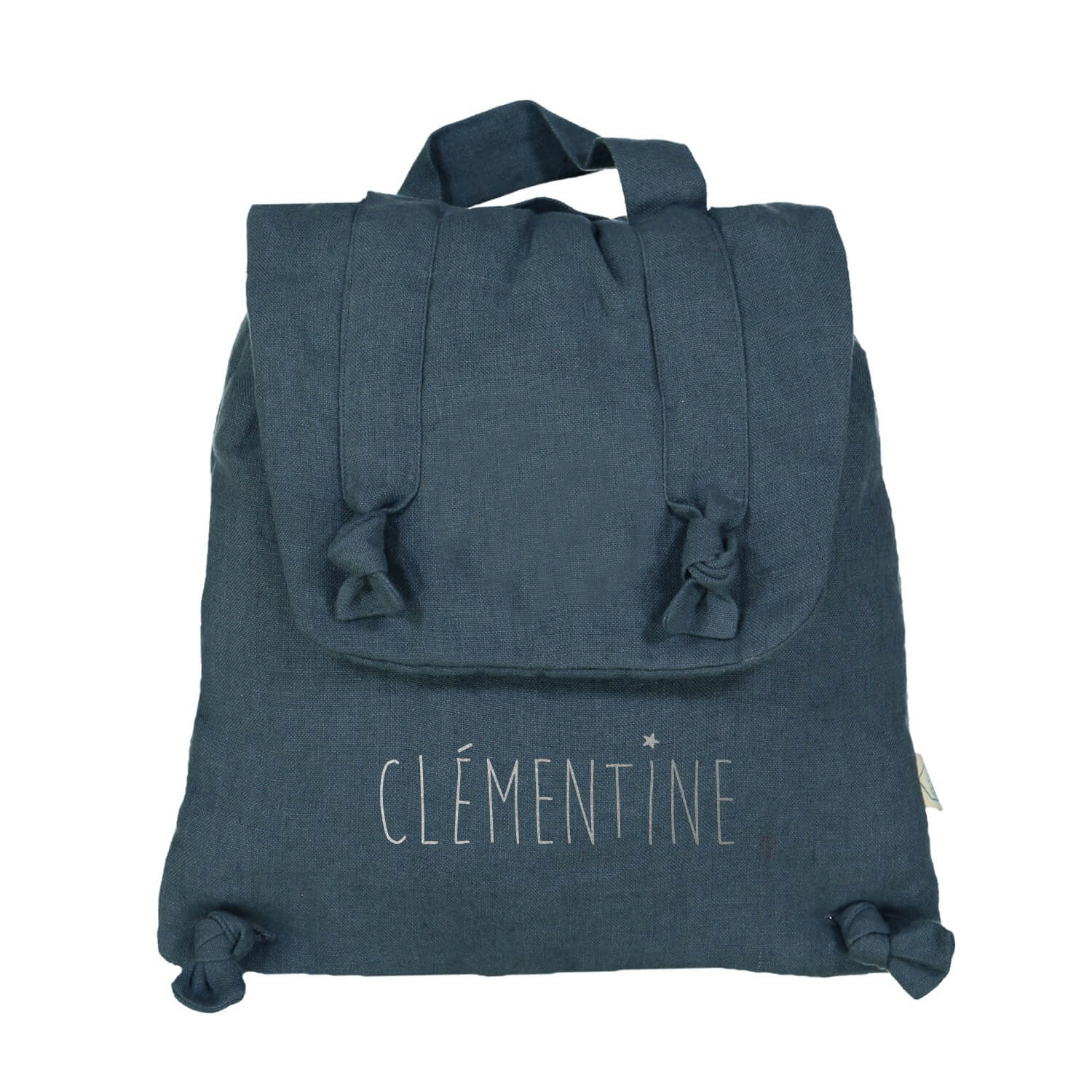 Personalised linen backpack