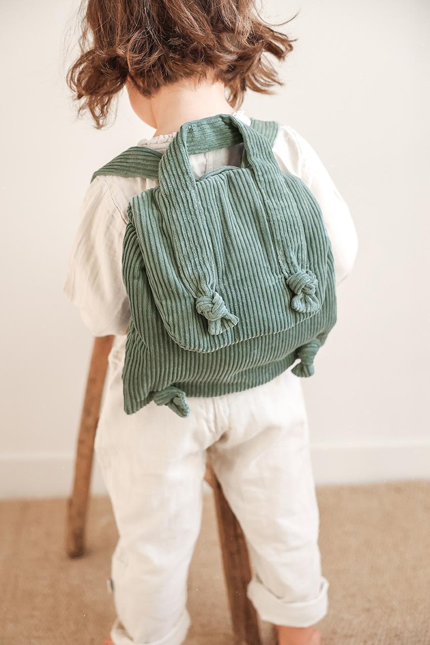 Sac à dos pour enfant en velours côtelé